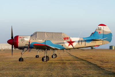 MMPI_20200627_MMPI0063_0003 -  Yakovlev Yak-52 VH-YFO parked at QWVAA flying day.