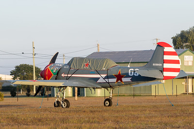 MMPI_20200627_MMPI0063_0002 -  Yakovlev Yak-52 VH-YYC parked at QWVAA flying day.