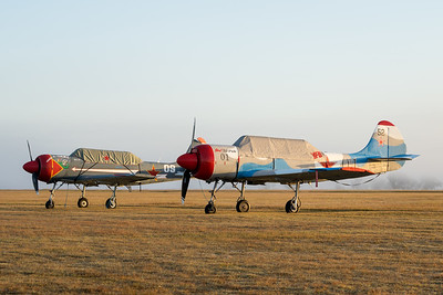 MMPI_20200627_MMPI0063_0001 -     Yakovlev Yak-52's VH-YFO VH-YYC parked in a foggy sunrise at QWVAA flying day.
