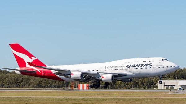 "MMPI_20200715_MMPI0063_0012 - Qantas Boeing 747-438(ER) VH-OEJ ""Wunala"" as flight QF747 touches down after its Brisbane farewell joy flight to celebrate retirement of the Qantas 747 fleet."