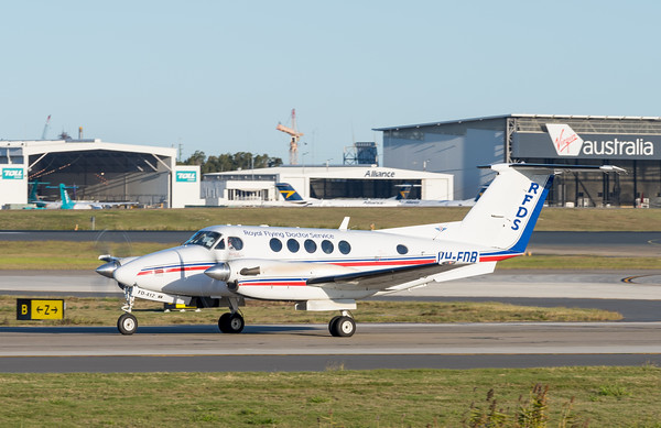 _A732146 - Royal Flying Doctor Service Beech B200 Super King Air VH-FDB taxiies after landing.