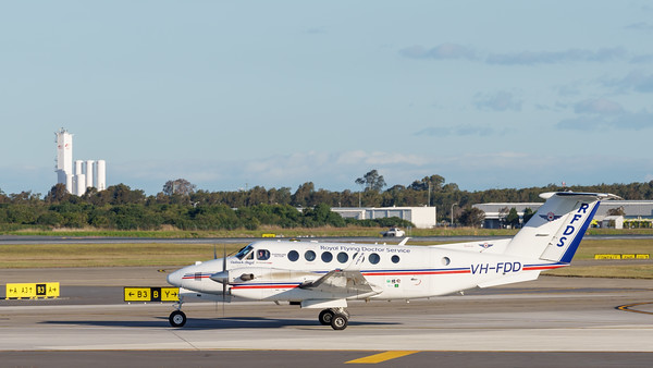 _A732125 - Royal Flying Doctor Service Beech B300C King Air VH-FDD taxiies after arriving from Toowoomba Wellcamp (YBWW).