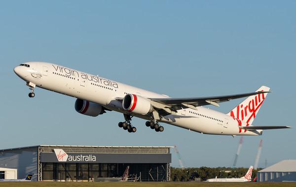"_MM59977 - Virgin Australia Boeing 777-3ZG(ER) VH-VPH ""St Kilda Beach"" as cargo flight VA9017 takes off from Brisbane (YBBN) en route for Los Angeles (KLAX)."