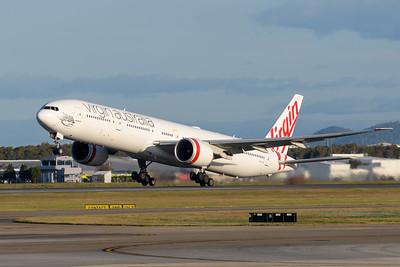 "_MM59970 - Virgin Australia Boeing 777-3ZG(ER) VH-VPH ""St Kilda Beach"" as cargo flight VA9017 takes off from Brisbane (YBBN) en route for Los Angeles (KLAX)."