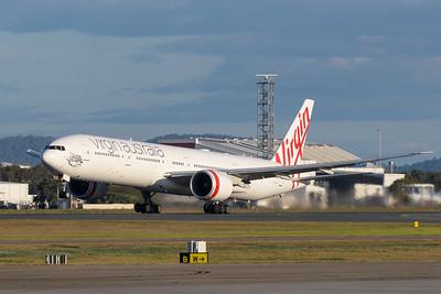 "_MM59964 - Virgin Australia Boeing 777-3ZG(ER) VH-VPH ""St Kilda Beach"" as cargo flight VA9017 takes off from Brisbane (YBBN) en route for Los Angeles (KLAX)."