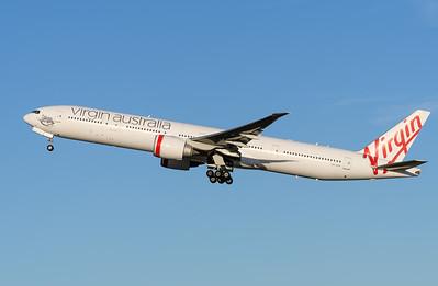 "_MM59988 - Virgin Australia Boeing 777-3ZG(ER) VH-VPH ""St Kilda Beach"" as cargo flight VA9017 takes off from Brisbane (YBBN) en route for Los Angeles (KLAX)."