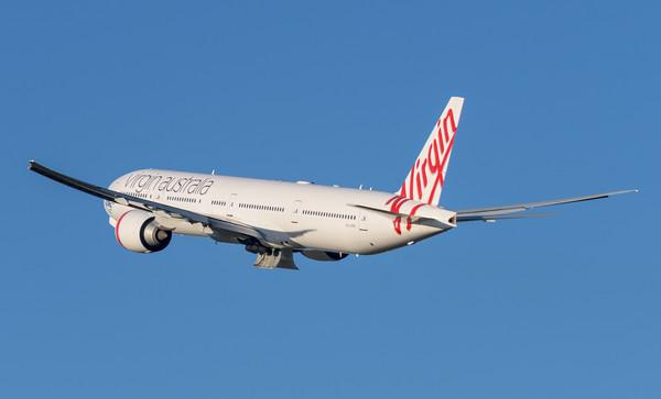 "_MM59999 - Virgin Australia Boeing 777-3ZG(ER) VH-VPH ""St Kilda Beach"" as cargo flight VA9017 takes off from Brisbane (YBBN) en route for Los Angeles (KLAX)."