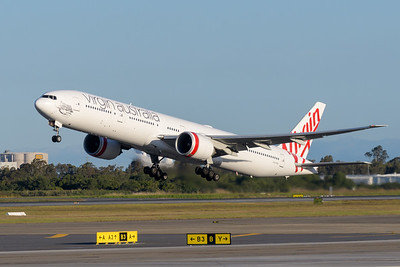 "_MM59974 - Virgin Australia Boeing 777-3ZG(ER) VH-VPH ""St Kilda Beach"" as cargo flight VA9017 takes off from Brisbane (YBBN) en route for Los Angeles (KLAX)."