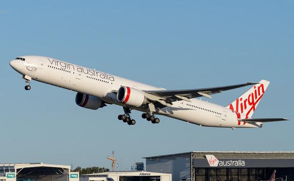 "_MM59981 - Virgin Australia Boeing 777-3ZG(ER) VH-VPH ""St Kilda Beach"" as cargo flight VA9017 takes off from Brisbane (YBBN) en route for Los Angeles (KLAX)."