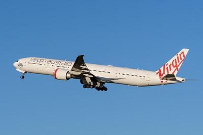 "_MM59997 - Virgin Australia Boeing 777-3ZG(ER) VH-VPH ""St Kilda Beach"" as cargo flight VA9017 takes off from Brisbane (YBBN) en route for Los Angeles (KLAX)."