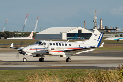 _7R40276 - Royal Flying Doctor Service Beech B300C King Air VH-FDD as flight VA612 taxiing after landing at Brisbane (YBBN) from Rockhampton (YBRK).