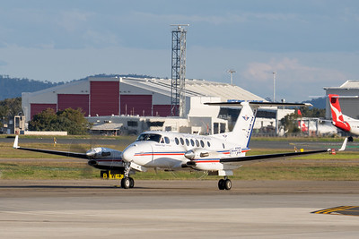 _7R40266 - Royal Flying Doctor Service Beech B300C King Air VH-FDD as flight VA612 taxiing after landing at Brisbane (YBBN) from Rockhampton (YBRK).