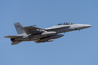 MMPI_20201001_MMPI0063_0014 - Royal Australian Air Force Boeing F/A-18F Super Hornet A44-223 climbing after takeoff.