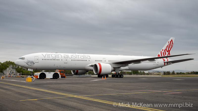 _7R42569 - Virgin Australia Boeing 777-3ZG(ER) VH-VPF parked at Brisbane (YBBN) logistics tarmac.