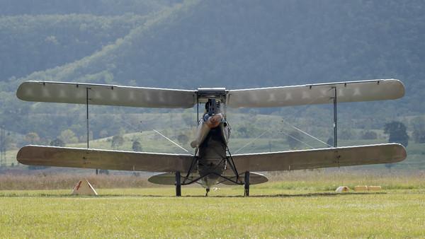 "MMPI_20210418_MMPI0083_0024 -  De Havilland DH.60M Metal Moth VH-UMK ""Golden Quest"" taxiing at Watts for Breakfast fly-in April 2021."