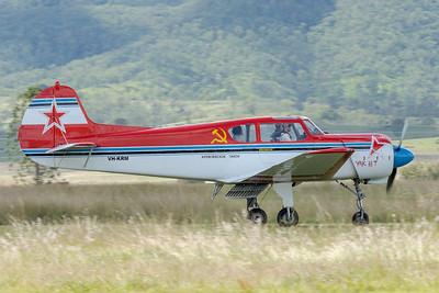 _7R42566 -  Yakovlev Yak-18T VH-KRM landing at the Watts for Breakfast fly-in Apr2020.
