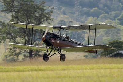 """MMPI_20210418_MMPI0083_0023 -  De Havilland DH.60M Metal Moth VH-UMK """"Golden Quest"""" landing at Watts for Breakfast fly-in April 2021."""