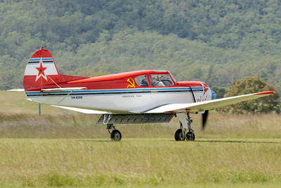 _7R42570 -  Yakovlev Yak-18T VH-KRM landing at the Watts for Breakfast fly-in Apr2020.