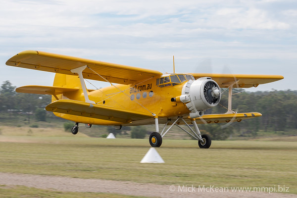 MMPI_20210509_MMPI0081_0395 - Saario Holdings Antonov An-2TP VH-CCE takes off at the Gatton Airpark Mother's Day fly-in.