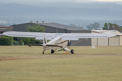 MMPI_20210509_MMPI0081_0005 -  Piper PA-18-150 Super Cub VH-PYK touches down at the Gatton Airpark Mother's Day fly-in.