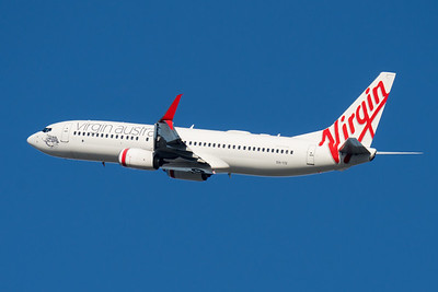 "MMPI_20210520_MMPI0078_0016 - Virgin Australia Boeing 737-8FE VH-YIV ""Cylinder Beach"" takes off from Brisbane (YBBN)."