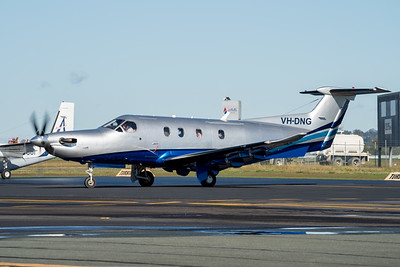 MMPI_20210704_MMPI0078_0012 -  Pilatus PC-12/47 VH-DNG taxiing at Archerfield Airport (YBAF).