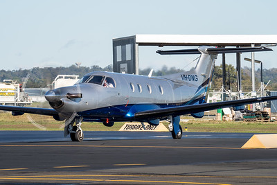 MMPI_20210704_MMPI0078_0009 -  Pilatus PC-12/47 VH-DNG parked with engine running at Archerfield Airport (YBAF).