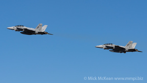 _7R49467 - Royal Australian Air Force Boeing F/A-18F Super Hornet A44-215 and A44-208 tandem take off from RAAF Amberley (YAMB) on a mission as part of exercise Talisman Sabre 2021.
