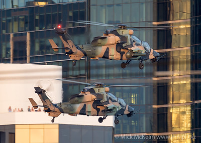 _A739968 - Australian Army Eurocopter Tiger ARH A38-021 and A38-008 in formation about to begin their display at Brisbane Riverfire 2021 event.
