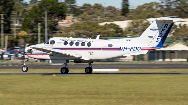 MMPI_20210516_MMPI0082_0053 - Royal Flying Doctor Service Beechcraft B200C Super King Air VH-FDO takes off at David Hack Classic 2021 fly-in event.