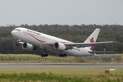 MMPI_20210403_MMPI0078_0002 - Air Niugini Boeing 767-341(ER) P2-PXV as flight PX4 takes off from Brisbane (YBBN) en route for Port Moresby (AYPY).