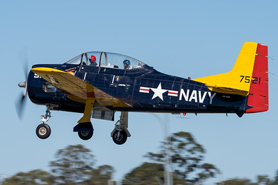 """MMPI_20210516_MMPI0082_0120 -  North American T-28D Trojan VH-ZUK """"Mekong Moon"""" takes off at David Hack Classic 2021 fly-in event."""