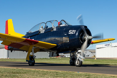 """MMPI_20210516_MMPI0082_0167 -  North American T-28D Trojan VH-ZUK """"Mekong Moon"""" taxiing up at David Hack Classic 2021 fly-in event."""