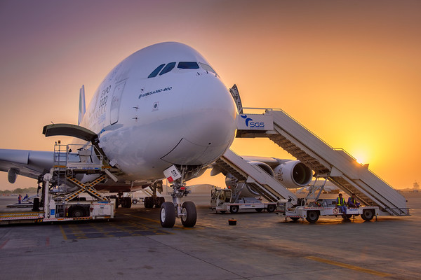 Sunset over the Airbus A380