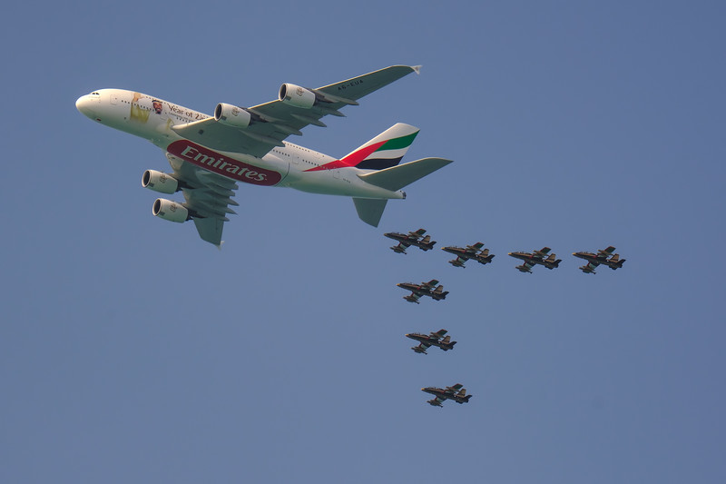 ZAYED FORMATION, rehearsal of 4 airliner formation for UAE National Day 2018