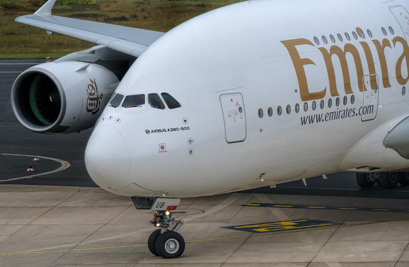 A380 taxiing in at Dusseldorf, Germany