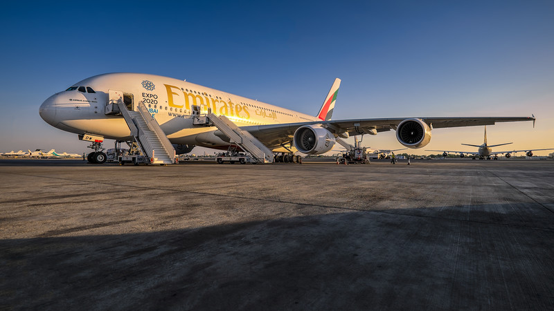 Airbus A380 enjoying the last sun of the say