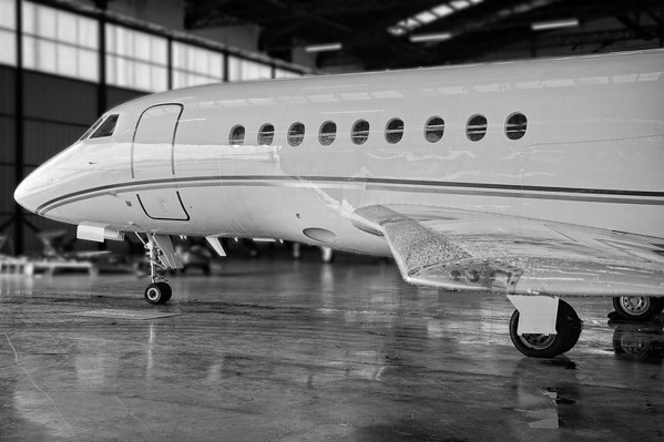 Falcon 2000 in hangar at Abelag, Brussels