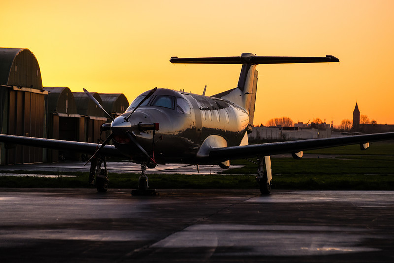 Pilatus PC-12 after  sunset at Kortrijk-Wevelgem, Belgium