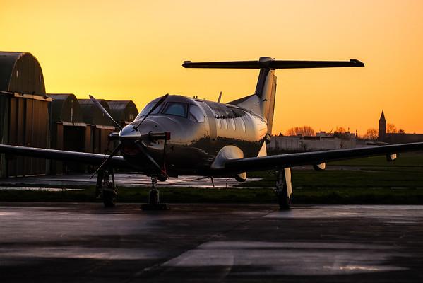 Pilatus PC-12 after  sunset at Kortrijk-Wevelgem, Belgium