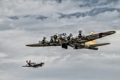 B-25 Mitchell - Chuckie on bombing run with P-51 Mustang - Rebel