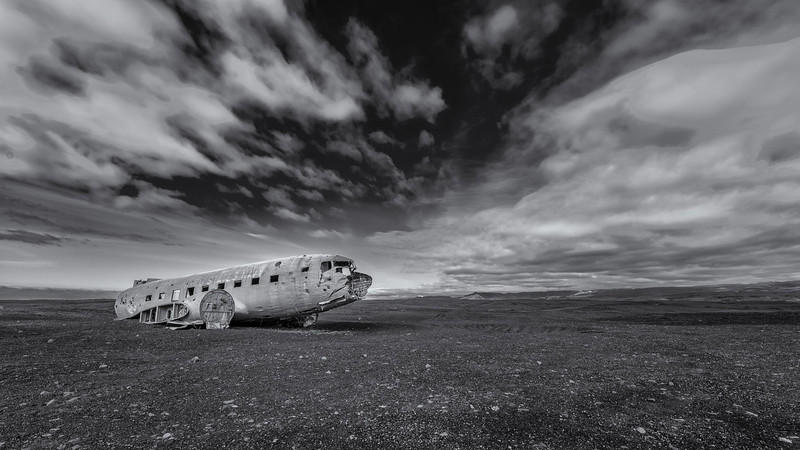 Crashed C-117 (DC-3) on a remote beach in Iceland