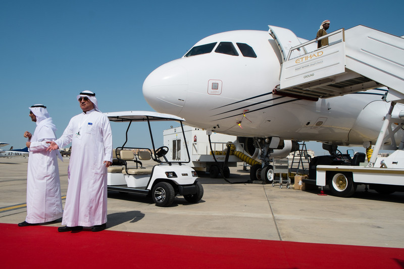 Emirates Cooperate A319 at Abu Dhabi Aviation Expo 2014