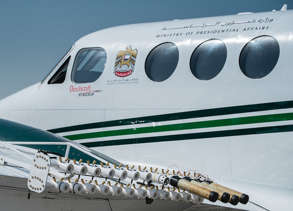 Cloud seeding Kingair at Abu Dhabi Aviation Expo 2014