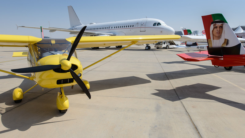 Ultralights with A319CJ - Abu Dhabi Aviation Expo 2014