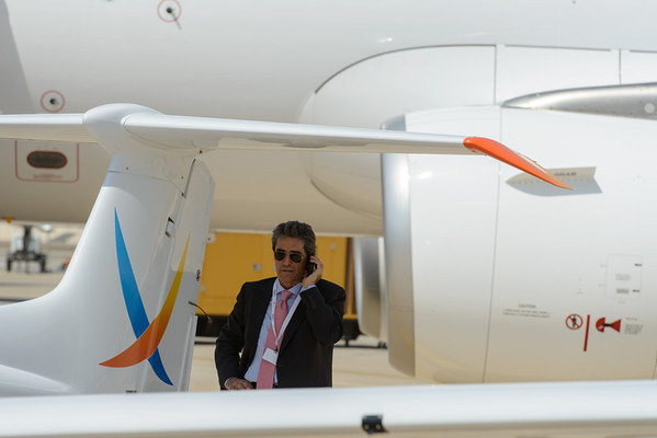 Looking for shade - Abu Dhabi Aviation Expo 2014
