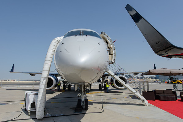 Cooling down Embraer Linage at Abu Dhabi Aviation Expo 2014