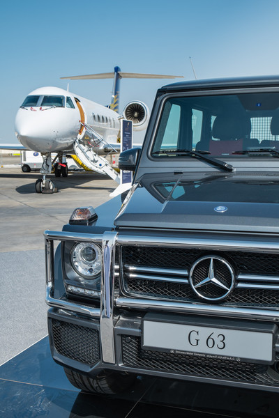 Expensive cars and planes at Abu Dhabi Aviation Expo 2014
