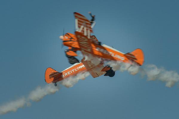 Breitling Wingwalking team flying the Stearman