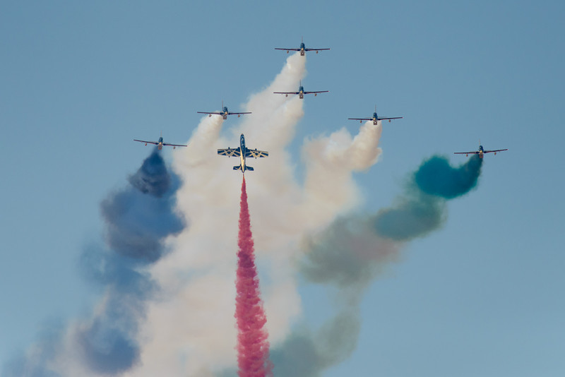 Al Fursan UAE Jet team flying the National colours